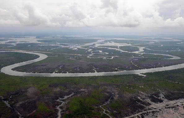 Aerial view dated on April 14, 2009 shows the Niger Delta creeks, 35 kilometers away from Port Harcourt in Rivers State. (Pius Utomi Ekpei/AFP/Getty Images)
