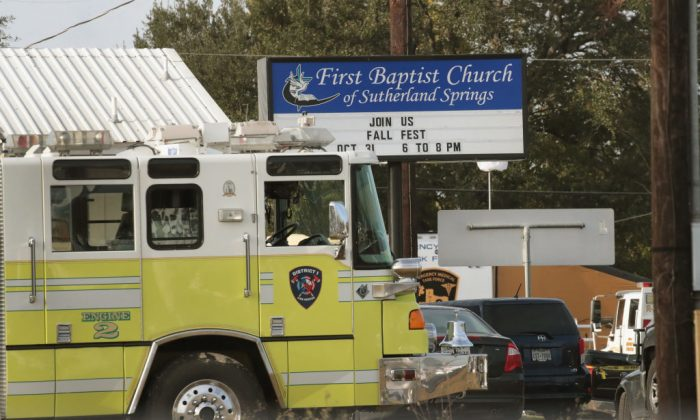 Emergency vehicles are parked outside the first Baptist Church of Sutherland Springs as law enforcement officials continue their investigation of a shooting on November 6, 2017 in Sutherland Springs, Texas. (Scott Olson/Getty Images)