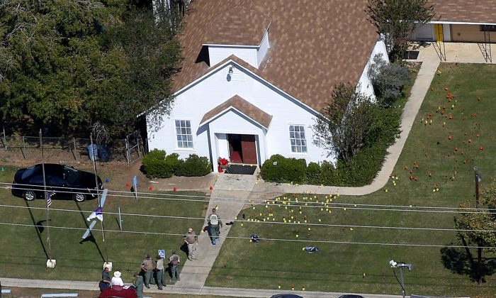 An aerial photo of the site of a mass shooting at the First Baptist Church of Sutherland Springs, Texas, on Nov. 6, 2017. (Jonathan Bachman/Reuters)