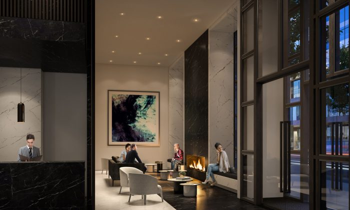Rendering of  the lobby in the Panda Condos. (Courtesy of Lifetime Developments)