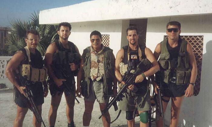 Navy SEAL Howard Wasdin (2nd L) with the sniper team at the Pasha safe house in Mogadishu, Somalia, in 1993. (Courtesy of Howard Wasdin)