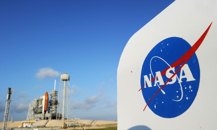 The NASA logo on a protective box for a camera near the space shuttle Endeavour on April 28, 2011, at Kennedy Space Center in Florida as preparations are under way for an April 29 launch of Endeavour, which will be its last flight. (STAN HONDA/AFP/Getty Images)