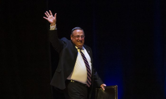 Maine Governor Paul LePage, (R), greets the crowd before Republican Presidential candidate Donald Trump speaks at the Merrill Auditorium in Portland, Maine., on Aug. 4, 2016. (Photo by Sarah Rice/Getty Images)