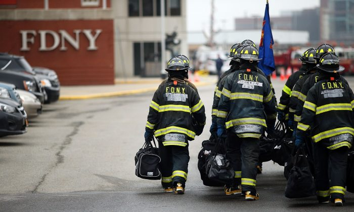 Firefighters train at the Fire Department of New York (FDNY) training academy in New York City.  (Spencer Platt/Getty Images)