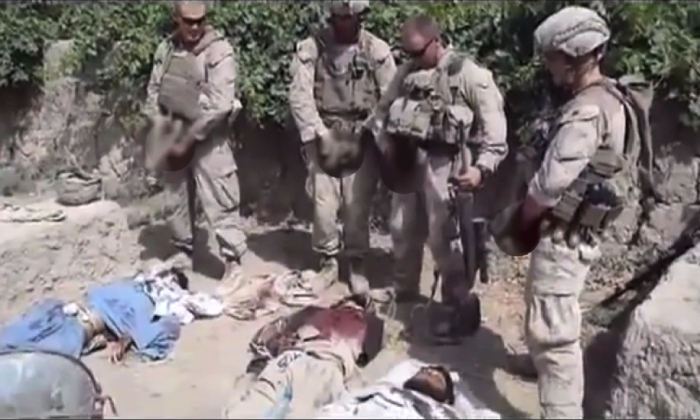 U.S. Marines in Afghanistan urinating on corpses of Taliban fighters. (YouTube)