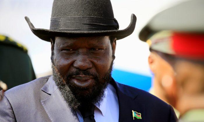 South Sudan's President Salva Kiir Mayardit reacts upon arrival at Khartoum airport, Sudan Nov. 1,2017.  (REUTERS/Mohamed Nureldin Abdallah/File Photo)
