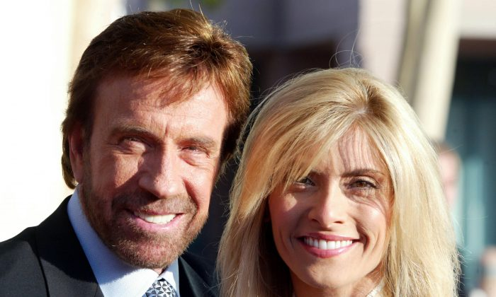 Actor Chuck Norris and his wife Gena O'Kelley on June 26, 2004 in North Hollywood, California. (Frazer Harrison/Getty Images)
