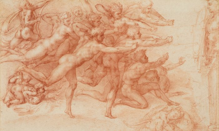 """Archers Shooting at a Herm,"" 1530–33 by Michelangelo Buonarroti (Italian, Caprese 1475–1564 Rome). Drawing, red chalk. 8 5/8 inches by 12 11/16 inches. 