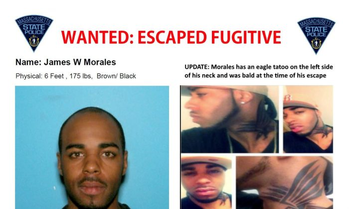 A wanted poster distributed by the Massachusetts State Police January 2, 2017 of James Morales, 35, who is wanted in connection with stealing weapons from a U.S. Army Reserve Center in Massachusetts. (Massachusetts State Police/Handout via Reuters)