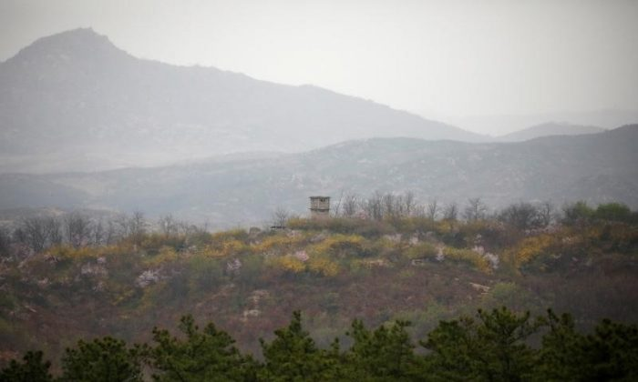 A North Korean guard post is seen in this picture taken from an observation post inside the demilitarized zone separating the two Koreas, in Paju, South Korea, April 17, 2017.  (Reuters/Kim Hong-Ji)