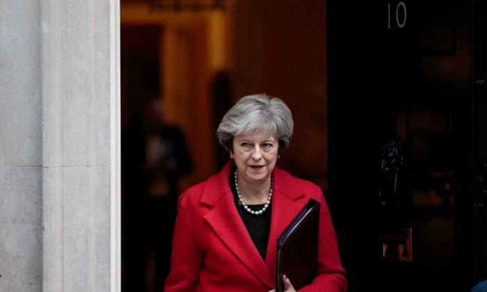 British Prime Minister Theresa May leaves Number 10 Downing Street on Nov. 13, 2017 in London, England. Mrs May held a meeting with European business leaders over their concerns about the future of UK-EU trade arrangements after Brexit. (Jack Taylor/Getty Images)