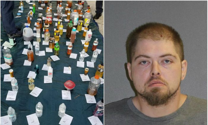 Containers recovered from Christopher Langer's home, including ingredients for explosives. (Volusia County Sheriff's Office); Christopher Langer. (Volusia County Corrections)