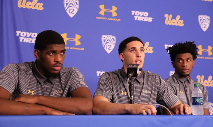 UCLA basketball players Cody Riley, LiAngelo Ball and Jalen Hill speak at a press conference at UCLA after flying back from China, where they were detained on suspicion of shoplifting, in Los Angeles on Nov. 15, 2017. (REUTERS/Lucy Nicholson)