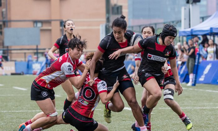 Player-coach Bella Milo proved a real handful, grabbing two trys as Valley Black put the Falcons to the sword in their Premiership clash at King's Park on Saturday Nov 11. (Dan Marchant)