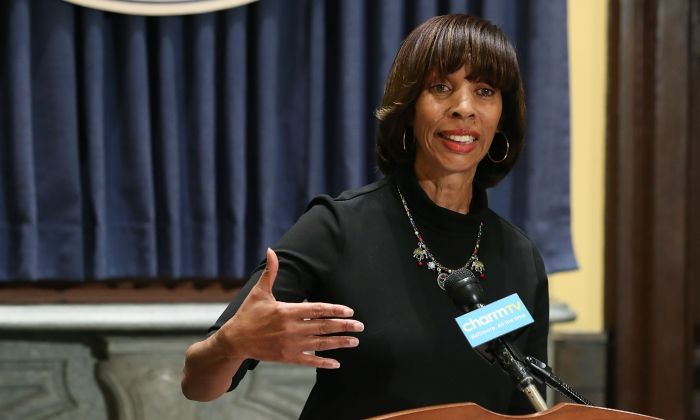 Baltimore Mayor Catherine Pugh at a press conference in Baltimore, Md., on Aug. 16, 2017. (Mark Wilson/Getty Images)