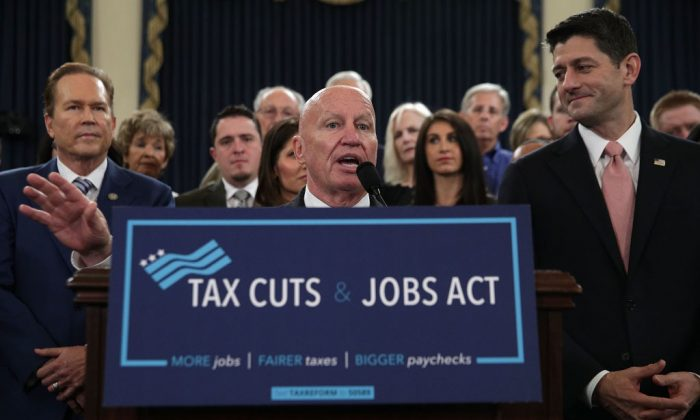 Chairman of House Ways and Means Committee Rep. Kevin Brady (R-TX) (C) speaks as Speaker of the House Rep. Paul Ryan (R-WI) (R), and Rep. Vern Buchanan (R-FL) (L) listen during a news conference on the tax reform legislation on Capitol Hill in Washington, D.C., on Nov. 2, 2017. (Alex Wong/Getty Images)