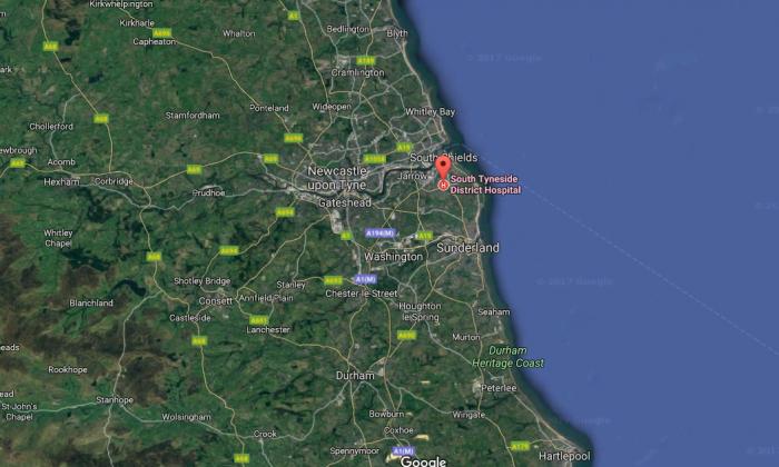 Jak Fada was taken to South Tyneside District Hospital in North East England. (Screenshot via Google Maps)
