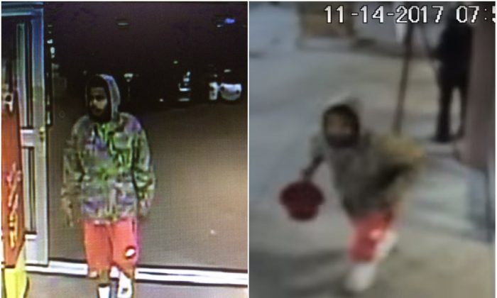 Security camera images of a man who stole a Salvation Army donation kettle in Savannah, Ga., on Nov. 14, 2017. (Savannah-Chatham Metropolitan Police Department)