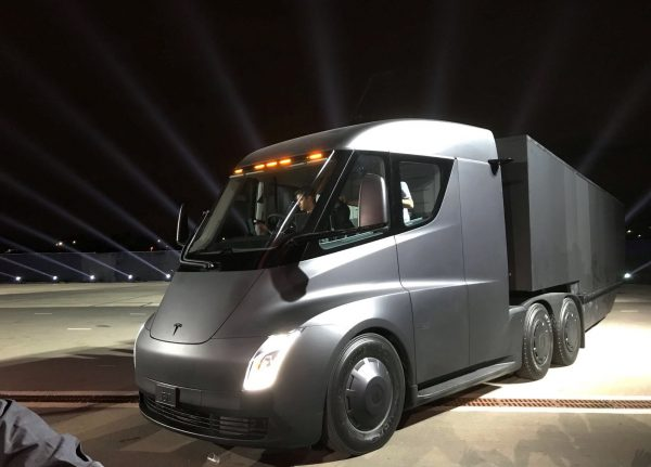 Tesla's new electric semi truck is unveiled during a presentation in Hawthorn California U.S. Nov. 16 2017