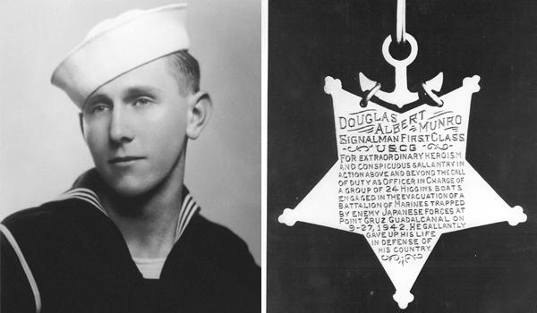 U.S. Coast Guard Signalman First Class Douglas Munro and his Medal of Honor. (Courtesy U.S. Coast Guard)