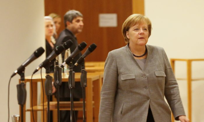 German Chancellor Angela Merkel of the Christian Democratic Union (CDU) during the exploratory talks about forming a new coalition government in Berlin, Germany, November 19, 2017. (Reuters/Axel Schmidt)
