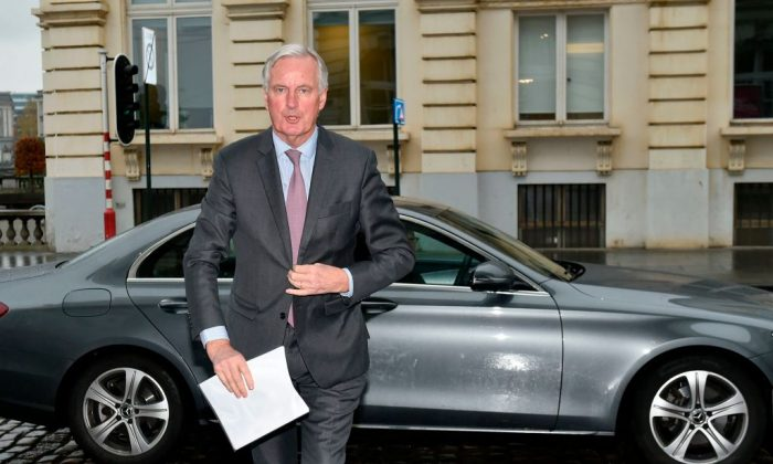 "European Commission member in charge of Brexit negotiations with Britain, Michel Barnier arrives before a speech on the future of Europe in Brussels on Nov. 20, 2017.  The EU is ready to offer Britain the ""most ambitious"" free trade deal if it meets its conditions on Brexit, Barnier said. (Thys/AFP/Getty Images)"