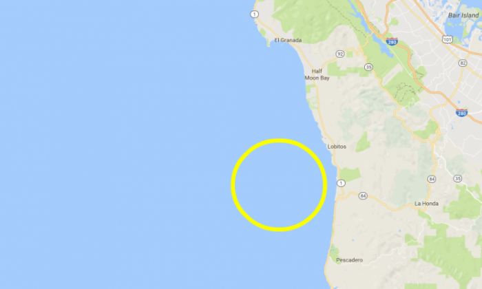 Area 8 miles south of Half Moon Bay in California. (Google Maps)