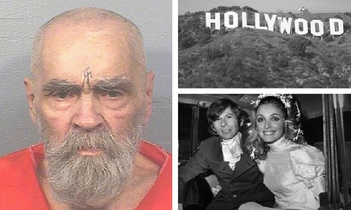 The most recent image of Charles Manson, taken in August (L) (Courtesy of the California Department of Corrections and Rehabilitation). Hollywood in Los Angeles (Top R). (Oreos via Wikimedia Commons CC BY-SA). Manson's followers killed actress Sharon Tate (pictured with her husband Roman Polanski) in her Los Angeles Home along with four others on Aug. 9, 1969 (Bottom R). (Photo by Evening Standard/Getty Images)