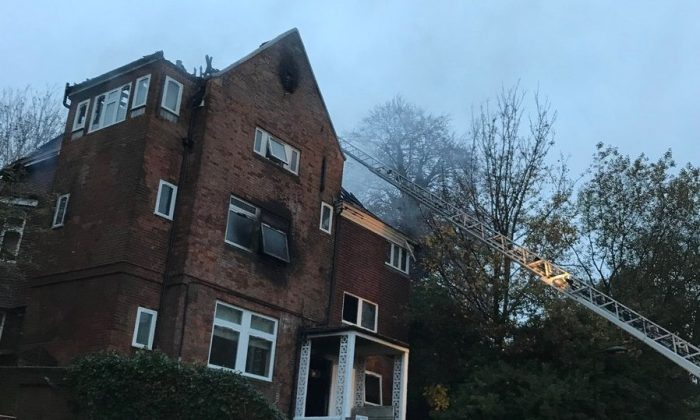 The blaze at Daleham Gardens in north London left one woman dead on November 21, 2017. (London Fire Brigade)