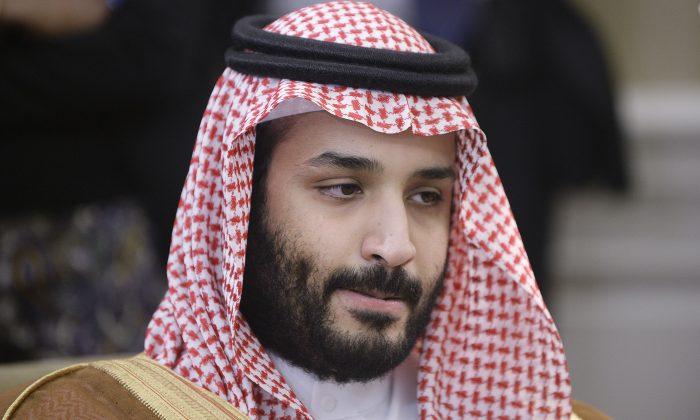 Deputy Crown Prince Mohammed bin Salman of Saudi Arabia at a meeting with President Barack Obama at the Oval Office at the White House May 13, 2015 in Washington, DC. Salman is now putting pressure on Lebanon to oppose Iran. (Olivier Douliery - Pool/Getty Images)