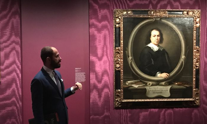 "Xavier F. Salomon, Peter Jay Sharp Chief Curator at The Frick Collection, talks about the exhibition he curated, ""Murillo: The Self-Portraits,"" at The Frick Collection in New York, on Oct. 30, 2017. (Milene Fernandez/The Epoch Times)"