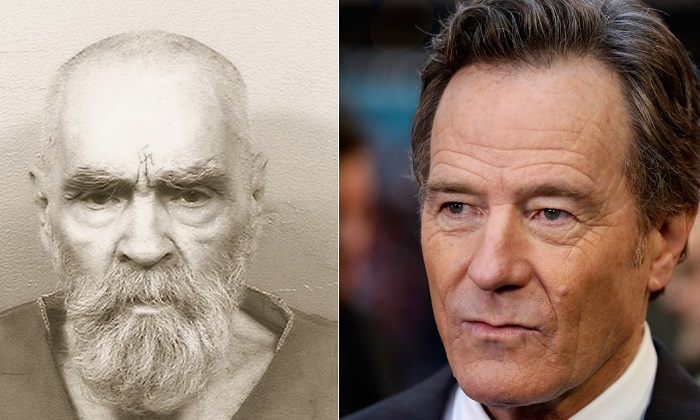The most recent image of Charles Manson, taken in August (L) (Courtesy of the California Department of Corrections and Rehabilitation). Bryan Cranston (R) attending the premiere of 'Last Flag Flying' on Oct. 8, 2017 in London. (Photo by John Phillips/Getty Images for BFI)