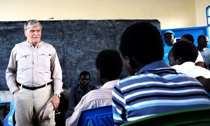Retired lieutenant-general Roméo Dallaire, founder of the Child Soldiers Initiative, addresses former child soldiers in Pibor, South Sudan, in 2015. (Photo by Josh Boyter)