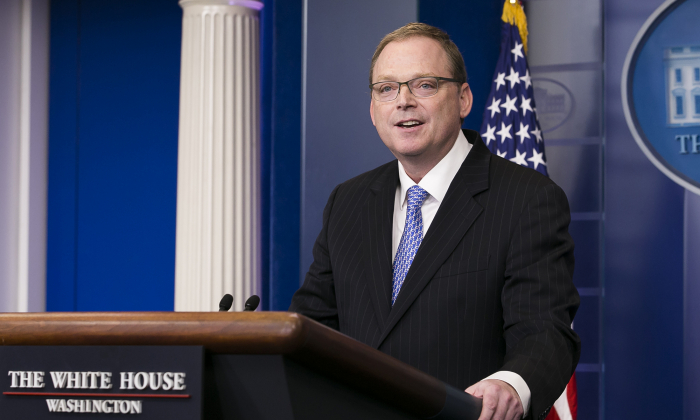 Kevin Hassett, chair of the council of economic advisers, speaks at the White House briefing in Washington on Nov. 17, 2017. (Charlotte Cuthbertson/The Epoch Times)