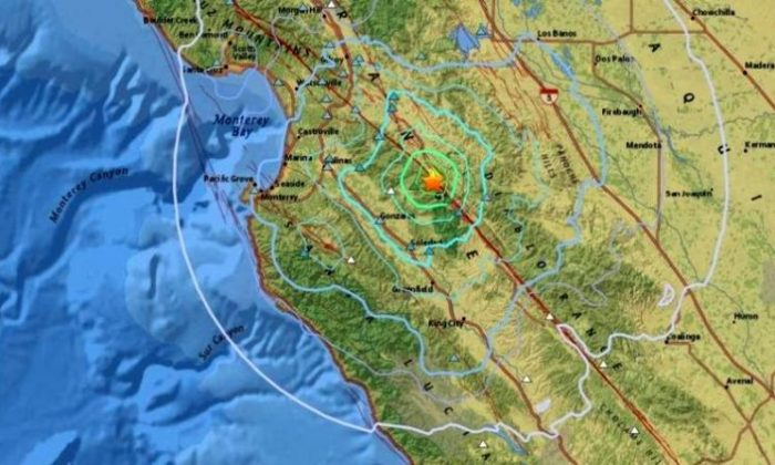 The shake map of the 4.6-magnitude event. (USGS)