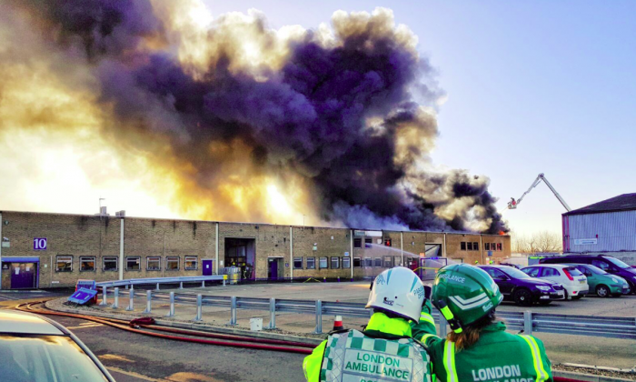 The fire in north London produced smoke that could be seen for miles across the city, on Thursday, November 23. (London Ambulance)