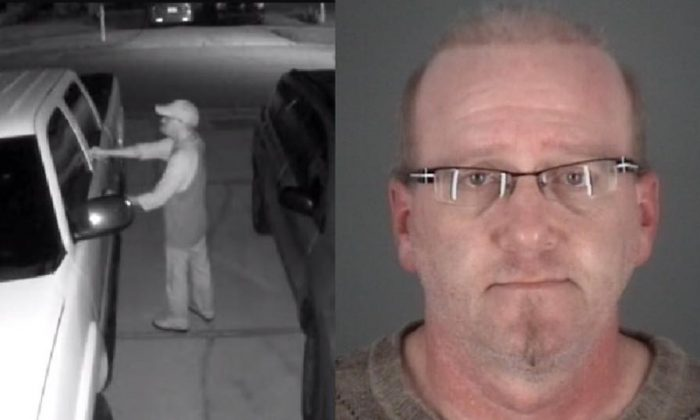 L: A frame from camera footage showing a man trying to enter a car on Hawbuck Street in Trinity Oaks, Fla., on Nov. 14, 2017; R: Stephen Titland, who was arrested for attempted burglary. (Pasco Sheriff's Office)