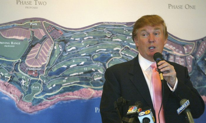 Donald Trump speaks at the groundbreaking of the Trump National Golf Club in Rancho Palos Verdes, Calif., on Jan. 14, 2005. (Matthew Simmons/Getty Images)