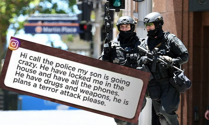 A file image of Australian police during a terrorist situation in 2014 (Saeed Khan/AFP/Getty Images) and the social media call for help that came through to Seven News (Screenshot via 7 News).