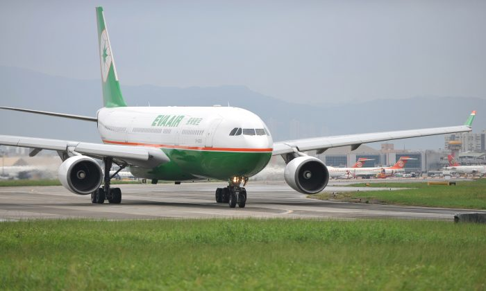 A Taiwan EVA Airways passenger plane takes off from Songshan Airport in Taipei on Oct. 31, 2010.  (Patrick Lin/AFP/Getty Images)