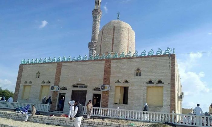 View of the Rawda mosque, roughly 40 kilometres west of the North Sinai capital of El-Arish, after a gun and bombing attack, on November 24, 2017. A bomb explosion ripped through the mosque before gunmen opened fire on the worshippers gathered for weekly Friday prayers, officials said.  (Stringer/AFP/Getty Images)