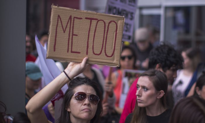 Demonstrators participate in the #MeToo Survivors' March in response to several high-profile sexual harassment scandals, in Los Angeles, California, on Nov. 12, 2017. The protest was organized by Tarana Burke, who created the viral hashtag #MeToo after reports of alleged sexual abuse and sexual harassment by the now disgraced former movie mogul, Harvey Weinstein. (David McNew/Getty Images)