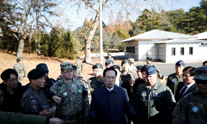 South Korean Defence Minister Song Young-moo speaks as he visits a spot where a North Korean has defected crossing the border on Nov. 13, at the truce village of Panmunjom inside the demilitarized zone, South Korea, on Nov. 27, 2017.     (REUTERS/Kim Hong-Ji)