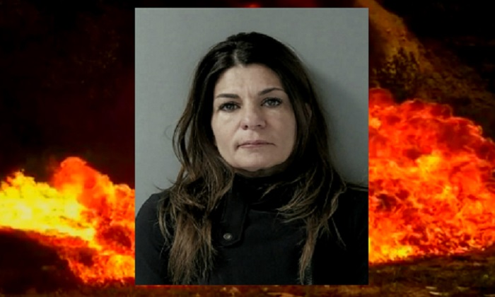 Julie Gagne, 47, has been arrested for torching her Infiniti SUV with a flamethrower. (Center image Barrington Police Department)