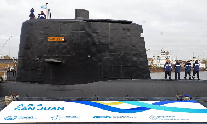 ARA San Juan submarine being delivered to the Argentine Navy after being repaired at the Argentine Naval Industrial Complex (CINAR) in Buenos Aires, on May 23, 2014. (Alejandro Moritz/AFP/Getty Images)