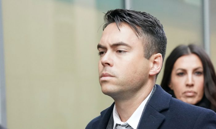 Television actor Bruno Langley arrives at Manchester Magistrates Court where he is facing sexual assault charges on November 28, 2017 in Manchester, England. Langley, who appeared in the soap opera Coronation Street, is charged  with sexually assaulting two women at a Manchester music venue. (Christopher Furlong/Getty Images)