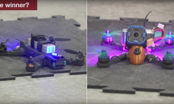 Man versus machine. Drone Pilot Ken Loo pits his skills against the latest AI technology.  (Screenshot/YouTube-NASA/JPL-Caltech)