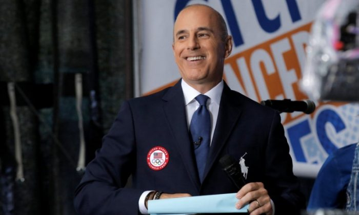 "NBC's ""Today"" show anchor Matt Lauer models the official Opening Ceremony outfit by Polo Ralph Lauren that Team USA members will wear, on  July 29, 2016.  (Brendan McDermid  Picture Supplied by Action Images/Reuters)"
