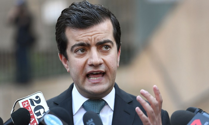 Australian Labor Party's Senator Sam Dastyari speaks to the media in Sydney on Sept. 6, 2016, to make a public apology after asking a company with links to the Chinese Government to pay a US $1,273 bill incurred by his office. Later Dastyari quit the Labor frontbench after admitting Chinese businessman Huang Xiangmo paid a legal bill for him. Dastyari is now in trouble after a report said that he told Huang that his phone was probably being tapped by security agencies. (William West/AFP/Getty Images)