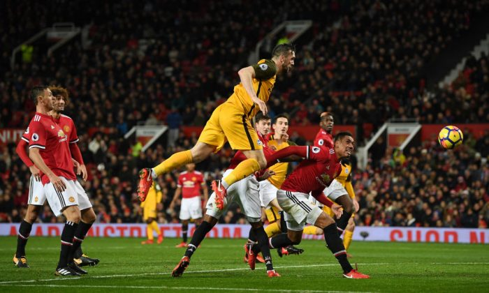 Shane Duffy of Brighton and Hove Albion shoots and misses during the Premier League match between Manchester United and Brighton and Hove Albion at Old Trafford on Nov 25, 2017 in Manchester, England. (Gareth Copley/Getty Images)